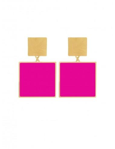 Quadrato Earrings - Fuchsia