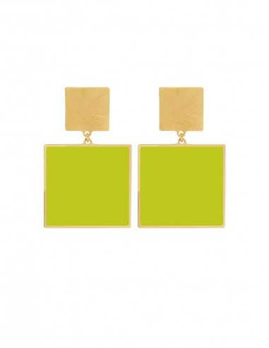Quadrato Earrings - Acid Green by Francesca Bianchi Design Arezzo Italy 1