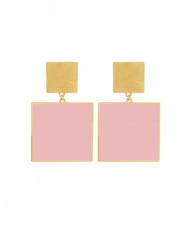 Quadrato Earrings - Pink by Francesca Bianchi Design Arezzo Italy 1