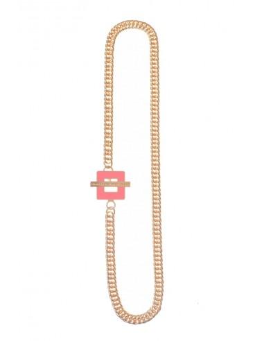T-BAR QU Necklace - Peach  by Francesca Bianchi Design Arezzo Italy 1