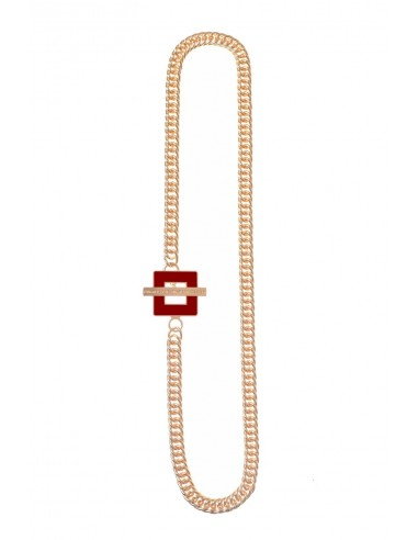 T-BAR QU Necklace - Bordeaux  by Francesca Bianchi Design Arezzo Italy 1