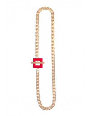 T-BAR QU Necklace - Red