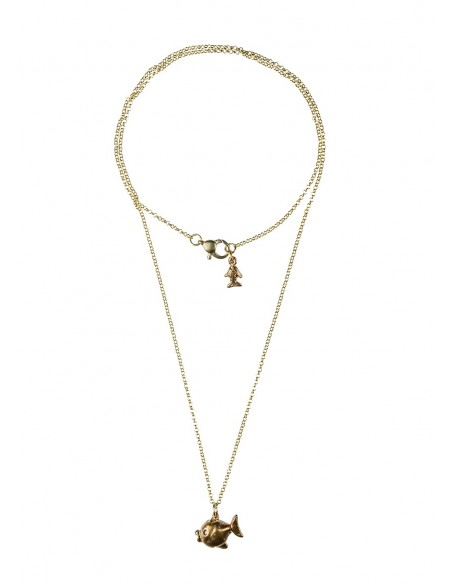 Double Crown Necklace around neck