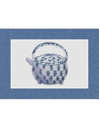 4 Plastic Placemats Big Teapot - Blue by Cecilia Bussani Florence