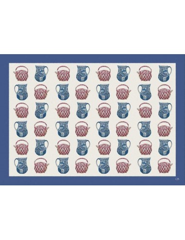 4 Plastic Placemats Teapots and Caraffe - Blue by Cecilia Bussani Florence