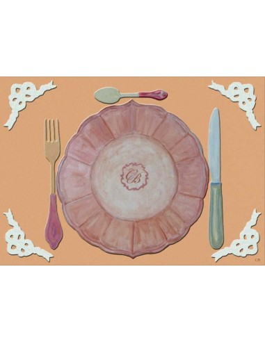 4 Plastic Placemats Equipment with Initials - Peach by Cecilia Bussani Florence