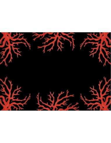 4 Plastic Placemats Corals - Black and Red by Cecilia Bussani Florence