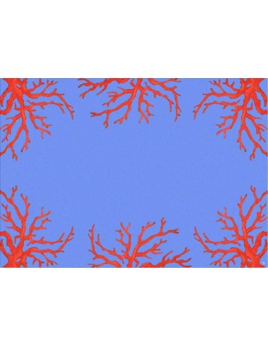 4 Plastic Placemats Corals - Light Blue and Red by Cecilia Bussani Florence