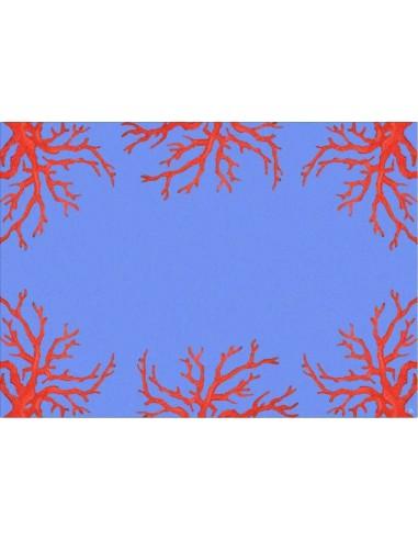 4 Tovagliette Plastificate Coralli - Azzurro e Rosso di Cecilia Bussani Firenze