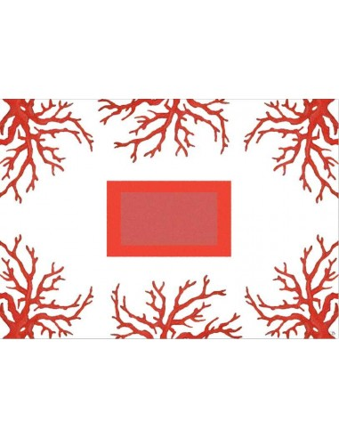4 Plastic Placemats Corals - White and Red by Cecilia Bussani Florence