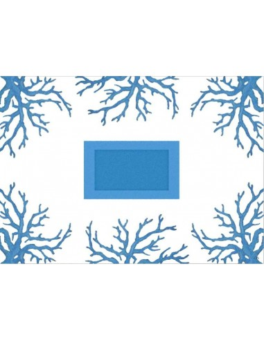 4 Plastic Placemats Corals - Light Blue and White by Cecilia Bussani Florence