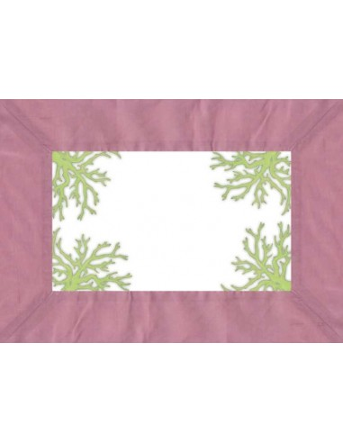 4 Plastic Placemats Corals - Antique Pink and Green by Cecilia Bussani Florence
