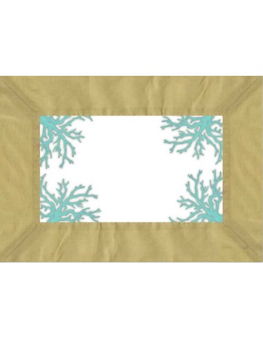 4 Plastic Placemats Corals - Green and Turquoise by Cecilia Bussani Florence