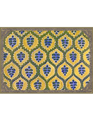 4 Plastic Placemats Ethnic - Green and Yellow by Cecilia Bussani Florence