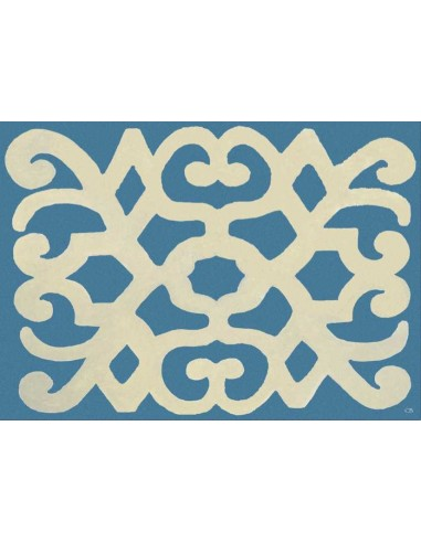4 Plastic Placemats Turkey - Light Blue and Beige by Cecilia Bussani Florence