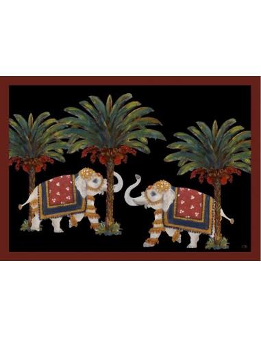 4 Tovagliette Plastificate Elefanti e Palme - Nero di Cecilia Bussani Firenze