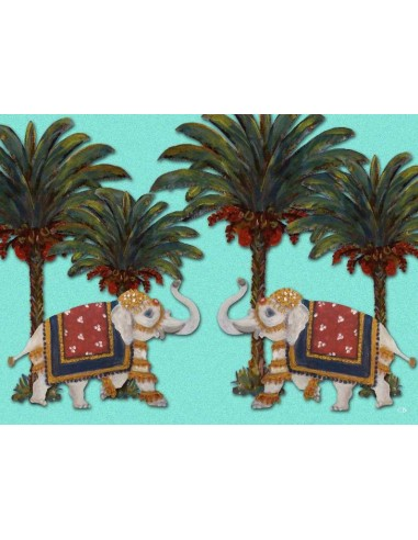 Plastic American Placemat Black Elephants and Palms - Set of 4