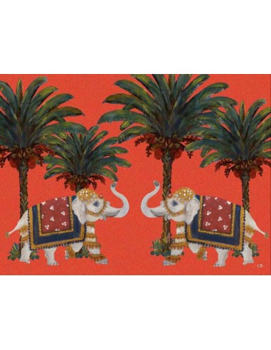 Plastic American Placemat Orange Elephants and Palms - Set of 4