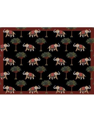 4 Tovagliette Plastificate Elefanti Piccoli e Palme - Nero di Cecilia Bussani Firenze