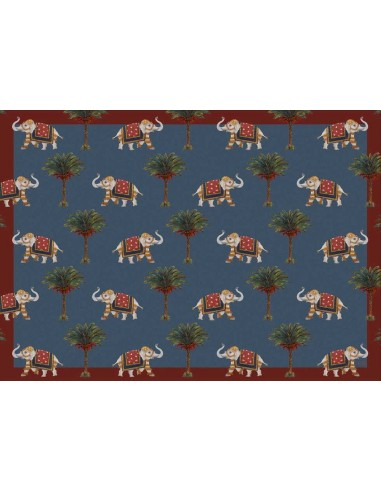 4 Plastic Placemats Small Elephants and Palms by Cecilia Bussani Florence