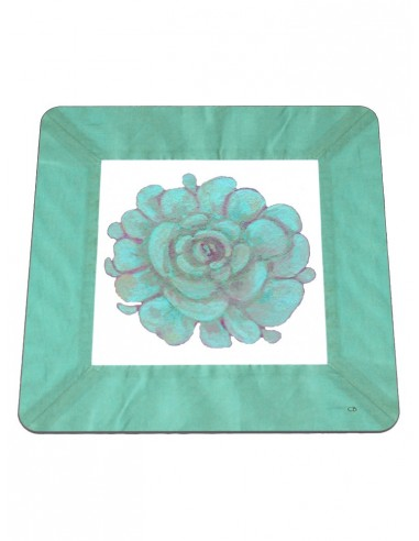 2 Masonite Trivets Flower - Green Water by Cecilia Bussani Florence
