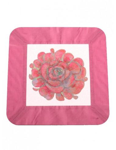 Masonite Red Flower Under Plate