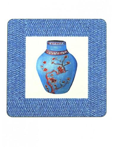 2 Masonite Trivets Vase - Blue by Cecilia Bussani Florence