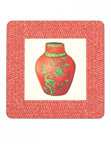 2 Masonite Trivets Vase - Coral by Cecilia Bussani Florence