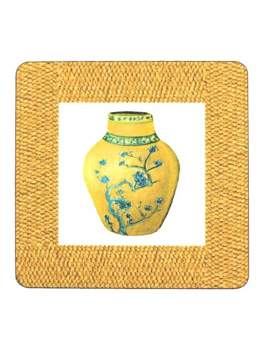 2 Masonite Trivets Vase - Yellow by Cecilia Bussani Florence