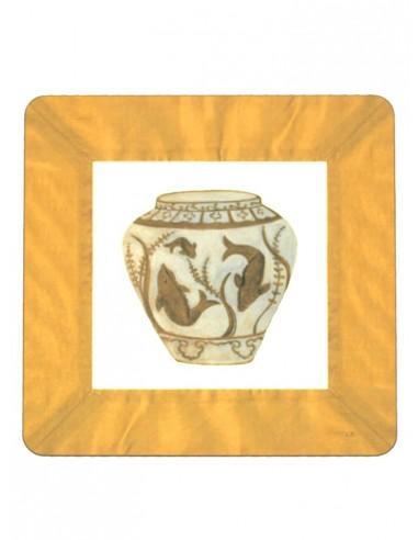 2 Masonite Trivets Fish Vase - Dark Yellow by Cecilia Bussani Florence