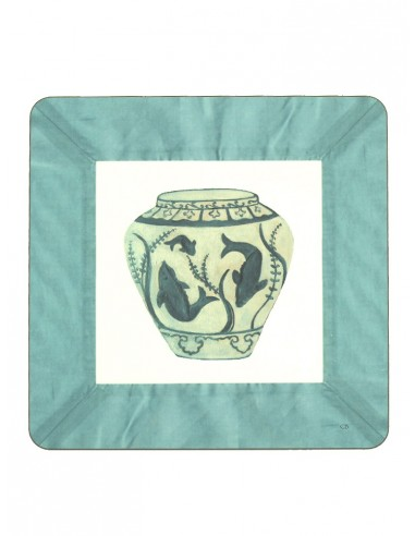2 Masonite Trivets Fish Vase - Water Green by Cecilia Bussani Florence