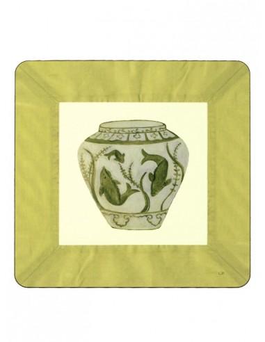 2 Sottopentola Masonite Vaso Pesci - Verde Acido di Cecilia Bussani Firenze