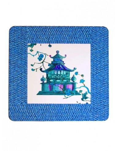 Sottopiatto Masonite Pagoda Azzurro di Cecilia Bussani
