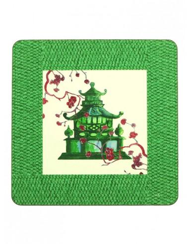 Sottopiatto Masonite Pagoda Verde di Cecilia Bussani Firenze