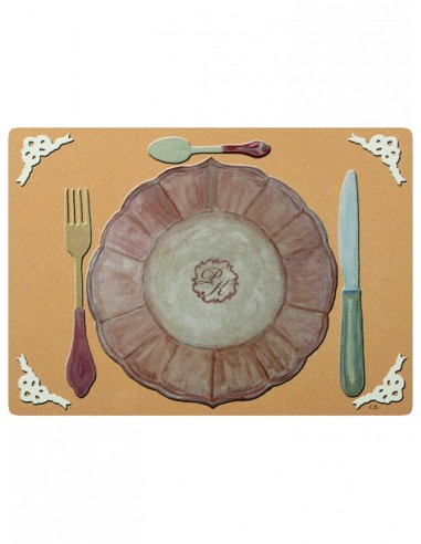Masonite Placemat Equipment with Initials - Dark Beige by Cecilia Bussani Florence