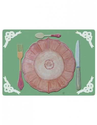 Masonite Placemat Equipment with Initials - Green by Cecilia Bussani Florence