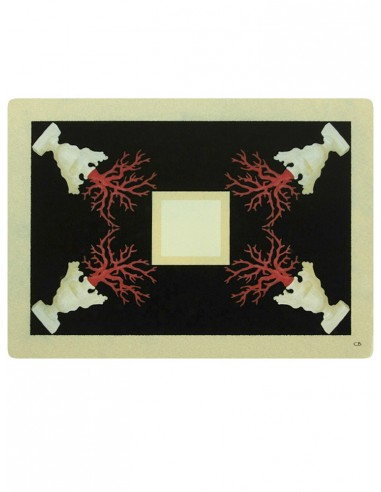 Masonite Placemat Corals - Black by Cecilia Bussani Florence
