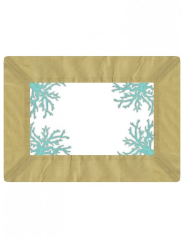 Masonite Placemat Corals - Green and Turquoise by Cecilia Bussani Florence