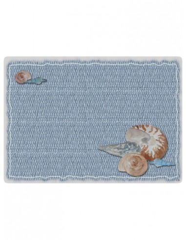 Masonite Placemat Shells - Light Blue by Cecilia Bussani Florence
