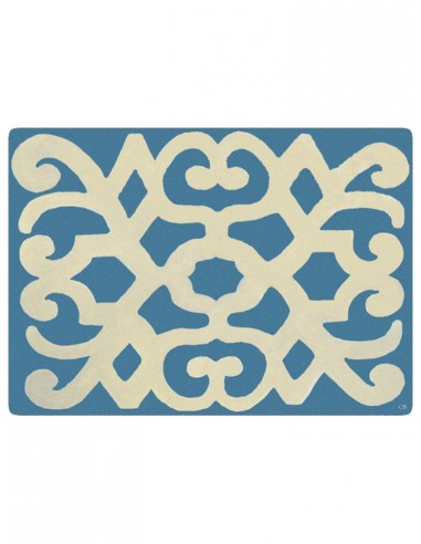 Masonite Placemat Turkey - Light Blu and Beige by Cecilia Bussani Florence