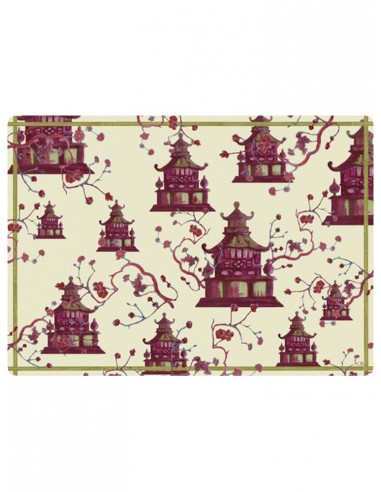 Masonite Placemat Pagodas - Red by Cecilia Bussani Florence