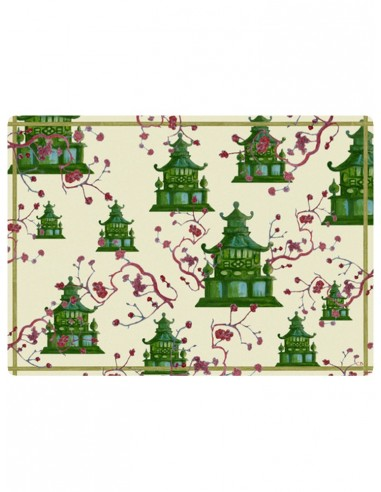 Masonite Placemat Pagodas - Green by Cecilia Bussani Florence