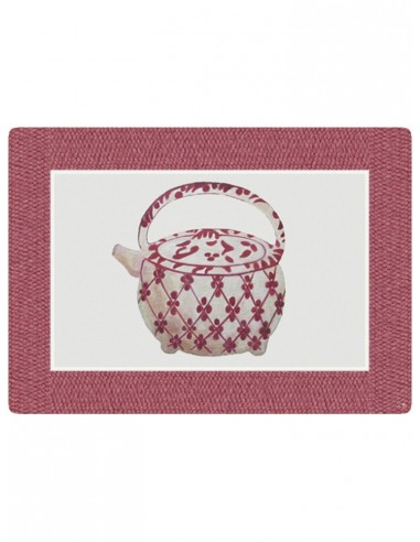 Masonite Placemat Large Teapot - Dark Pink by Cecilia Bussani Florence