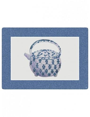Masonite Placemat Large Teapot - Blue by Cecilia Bussani Florence