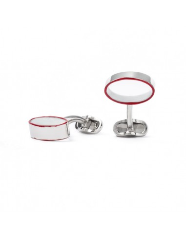 Enamelled Oval Cufflinks- Red by Mon Art Florence