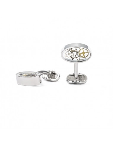 Oval Cufflinks with Gears A by Mon Art Florence