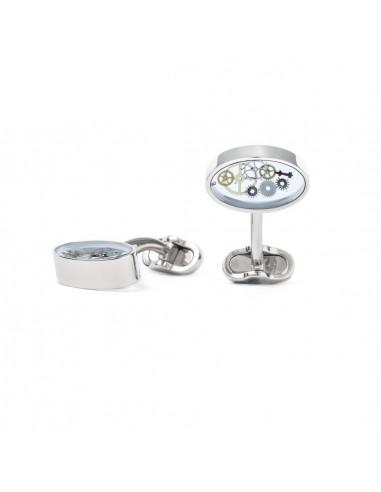 Oval Cufflinks with Clock Gears