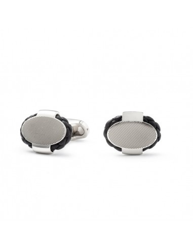 Oval Cufflinks with Braided Leather - Black by Mon Art Florence