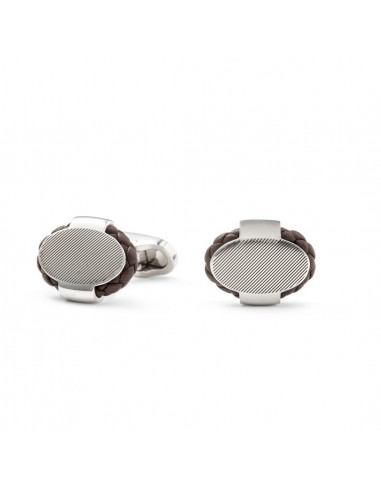 Oval Cufflinks with Braided Leather - Brown by Mon Art Florence