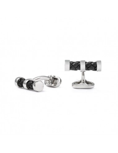 Cylinder Cufflinks with Braided Leather - Black by Mon Art Florence